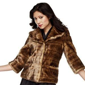 Luxe Rachel Zoe Faux Mink Jacket with 3/4 Sleeve